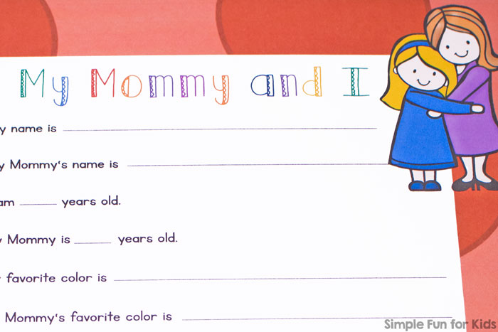 This printable My Mommy and I Mother's Day Survey is so cute! I can't wait to compare what my preschooler replies over the years - and soon my toddler will be able to join in, too!