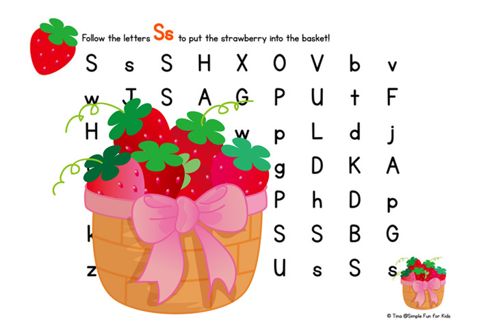 Help preschoolers learn their letters with letter mazes! Try this S is for Strawberry Letter Maze, or click through for mazes for all letters, numbers, and the alphabet!