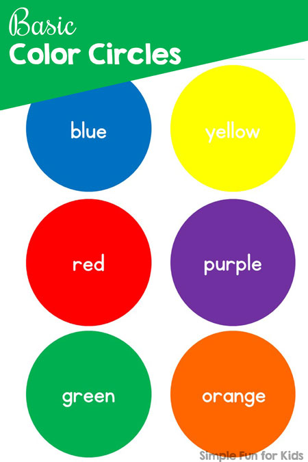 image about Color Words Printable known as Straightforward Colour Circles - Basic Pleasurable for Small children