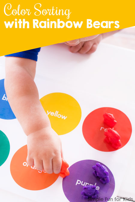 My toddler's first totschool activity was color sorting with rainbow bears - and he's in love with it! Super simple, but a fun and educational introduction to colors.