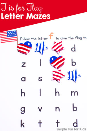 F is for Flag Letter Maze Printable