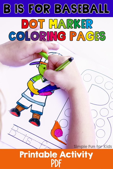 Title image showing a child coloring the B is for Baseball Dot Marker Coloring Page