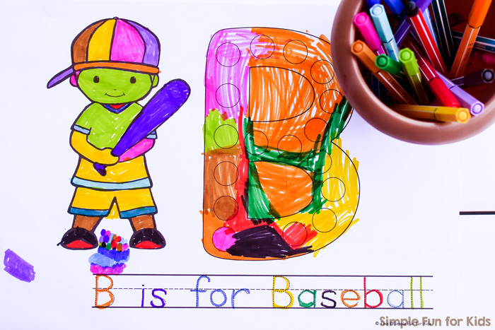 A completed copy of a B is for Baseball Dot Marker Coloring Page. Includes coloring and tracing in a variety of different colors.