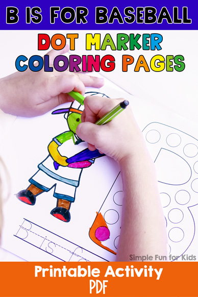 B is for Baseball Dot Marker Coloring Pages
