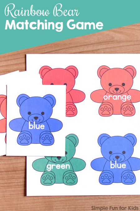 Everything rainbow bears gets my toddler's attention immediately. He LOVED this super simple Rainbow Bear Matching Game I made from a color sorting printable I offer. Great for working on colors and color words in tot school!