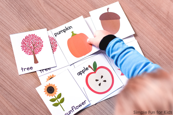 Play a fun, simple printable game with your toddler to practice fall vocabulary, matching, 1:1 correspondence, and more: Fall Matching Game for Toddlers!