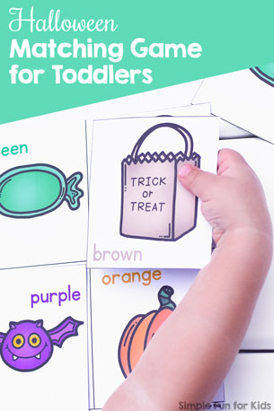 Work on colors, vocabulary, and basic math skills like matching and one-to-one correspondence with this fun, simple printable Halloween Matching Game for toddlers!