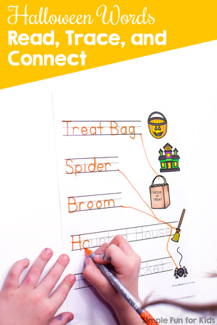 Perfect seasonal printable for kindergarteners working on reading and writing simple words: Check out these Halloween Words Read, Trace, and Connect Worksheets!