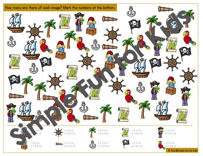 Work on counting up to 10, one to one correspondence, visual discrimination, and more with this cute printable pirate I Spy game! Great for older toddlers, preschoolers, and kindergarteners.