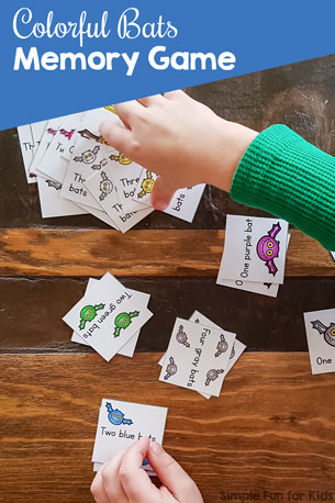 Colorful Bats Memory Game with Color and Number Words