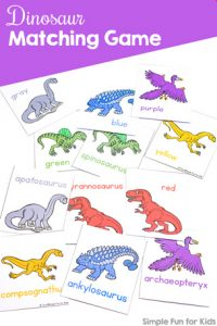 Does your toddler love matching and sorting? Play this fun and simple printable Dinosaur Matching Game for Toddlers that's perfect for learning colors, dinosaur names, 1:1 correspondence, visual discrimination, and more!