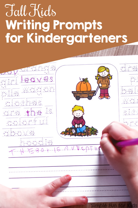 My kindergartener has been enjoying the differentiated simple writing prompts I've been making for her. Try these Fall Kids Writing Prompts for Kindergarteners with different level of support for beginning writers!