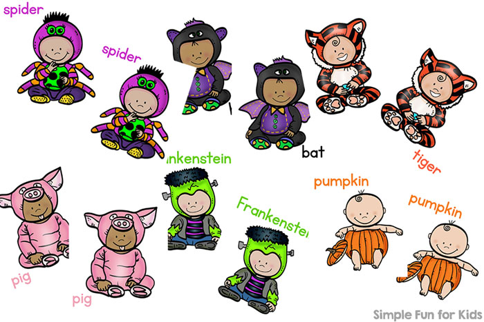 My 2-year-old thought these printable cards were hilarious: This Halloween Baby Costumes Matching Game for Toddlers was great fun for him and helped him improve his matching, 1:1 correspondence, visual discrimination, and visual scanning!