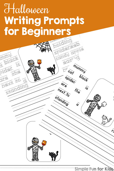Are your kids starting to write their own sentences? Start them off with these Halloween Writing Prompts for Beginners! Four versions with different levels of support for kindergarteners, all in color and black & white for added coloring fun.
