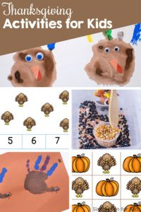 Check out all of the 50+ Thanksgiving Activities for Kids on Simple Fun for Kids! Sensory activities for toddlers, handprint crafts, printables for preschoolers, kindergarteners, and elementary students, and more!