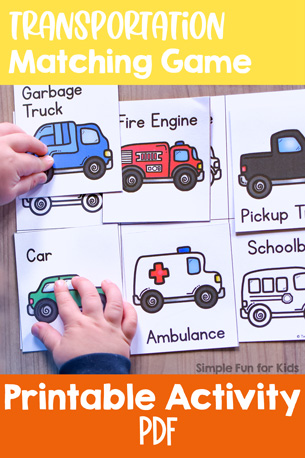 My toddler loves cars! He FLIPPED when he saw this printable Transportation Matching Game! Quick and simple and perfect for little hands: vocabulary practice, visual discrimination, fine motor practice, and more!