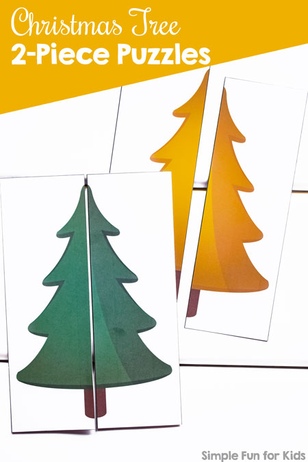 These simple puzzles for your toddler are perfect as an introduction to putting puzzles together and feature all of the colors of the rainbow: Christmas Tree 2-Piece Puzzles. (Day 13 of the 24 Christmas Printables for Toddlers.)