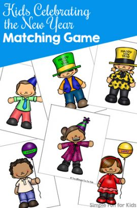 Kids Celebrating the New Year Matching Game for Toddlers