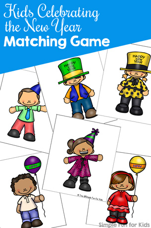 Perfect for New Year's Eve or just for fun: Play this printable Kids Celebrating the New Year Matching Game for Toddlers with a little one and work on matching, visual discrimination, 1:1 correspondence, fine motor skills, and more!