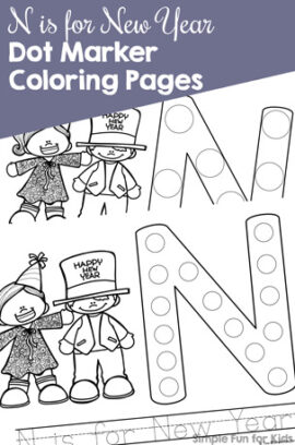 N is for New Year Dot Marker Coloring Pages