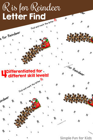 Day 16: Differentiated R is for Reindeer Letter Find