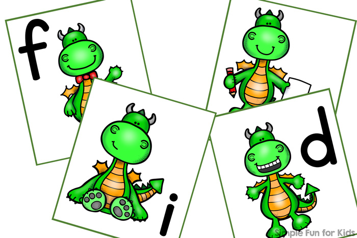 Learn letters with this cute printable matching game that's perfect for toddlers and preschoolers: Friendly Dragon Lower Case Letter Matching Game! The pdf file is editable, so you can easily use your own letter combinations, numbers or other learning objectives.