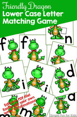 Friendly Dragon Lower Case Letter Matching Game