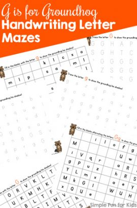 G is for Groundhog Handwriting Letter Mazes