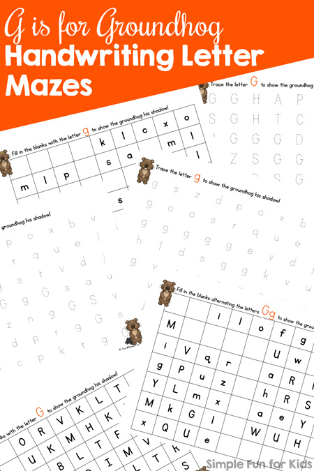 G Is For Groundhog Handwriting Letter Mazes Simple Fun For Kids