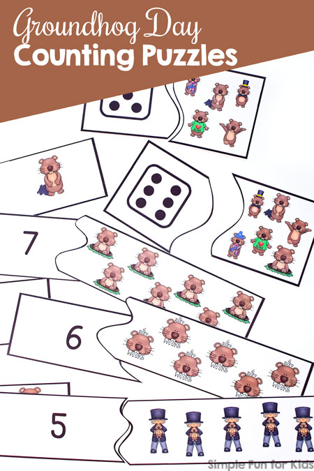 photo about Ground Hog Day Printable referred to as Groundhog Working day Counting Puzzles - Uncomplicated Enjoyable for Children