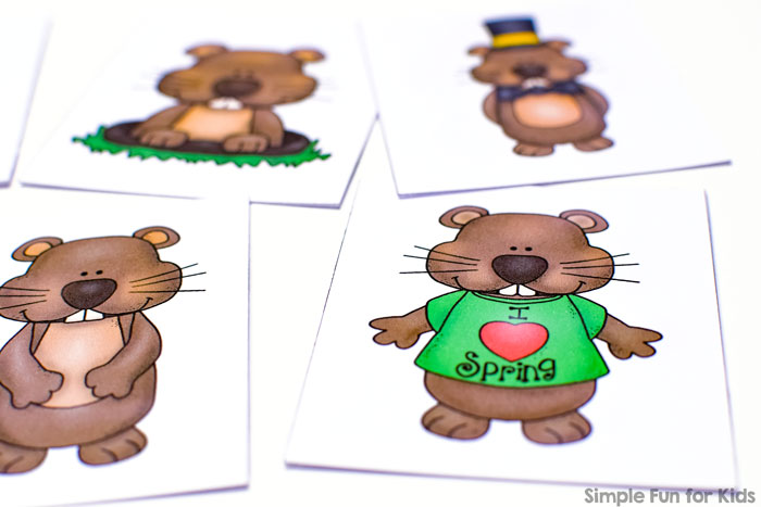 Matching games are my 2-year-old's favorite! Most recently, he's had fun with this simple cute Groundhog Day Matching Game for Toddlers! Match groundhogs in different poses and practice visual discrimination, visual scanning, and 1:1 correspondence. Or extend the activity with the shadow matching version!