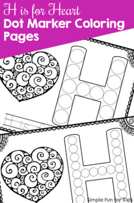 H is for Heart Dot Marker Coloring Pages