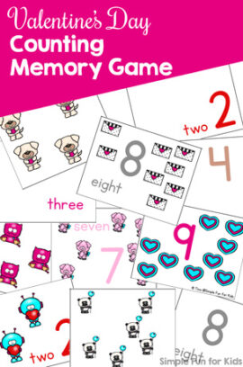 Valentine's Day Counting Memory Game for Preschoolers