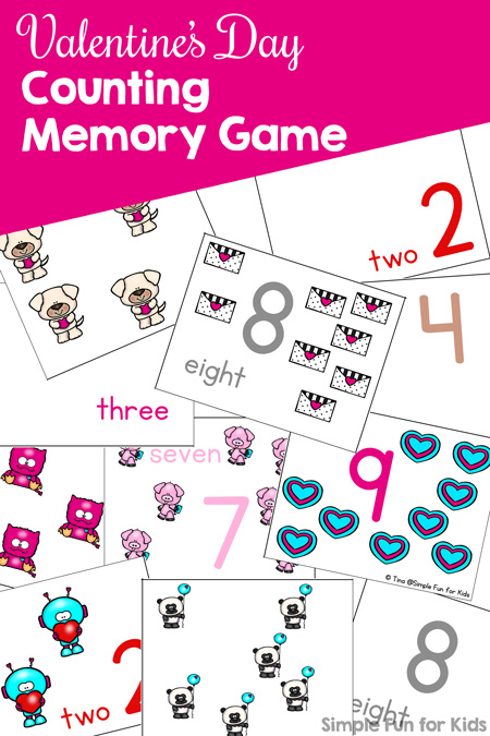 Memory doesn't have to be about matching identical images! Try this Valentine's Day Counting Memory Game for Preschoolers with 5 different types of cards to mix and match! Covers numbers 1-9.