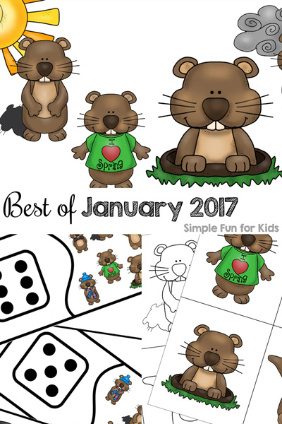Read all about the best of January 2017 on Simple Fun for Kids: A round-up of all of the new posts of the month, the top 3 most popular new posts, and my personal favorite! Sensory activities, printables for toddlers, preschoolers, and kindergarteners, cutting practice, dot marker coloring pages, and more!