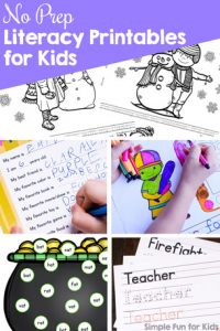 Do you need a quick and simple literacy worksheet that doesn't require cutting or other preparation? Check out these 110+ No Prep Literacy Printables for Kids! They cover many different learning objectives for toddlers, preschoolers, kindergarteners, and elementary students.