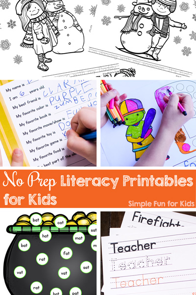 Do you need a quick and simple literacy worksheet that doesn't require cutting or other preparation? Check out these No Prep Literacy Printables for Kids! They cover many different learning objectives for toddlers, preschoolers, and kindergarteners.