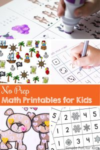 Need a math learning activity quickly and don't have time to cut and paste and prepare the printable? Try these 50+ No Prep Math Printables for Kids! There's material for preschoolers and kindergarteners including I Spy and roll and cover games, counting and graphing activities, and more!