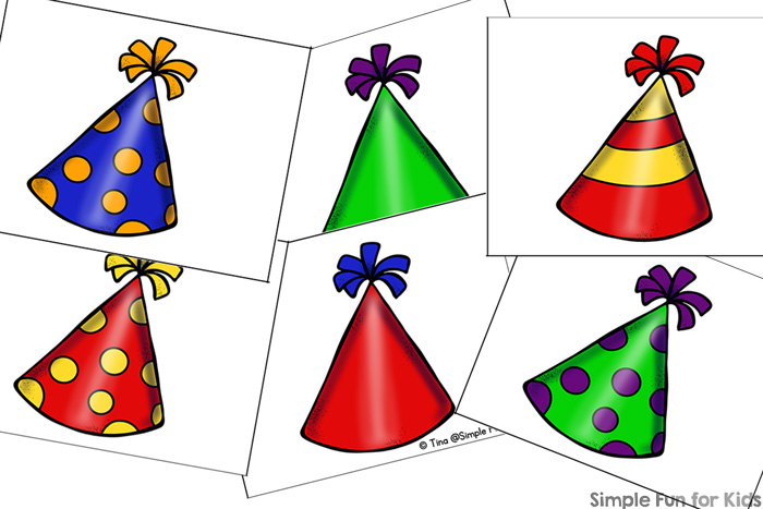 Who doesn't love fun party hats? Play this cute simple printable Party Hats Matching Game with your preschooler!
