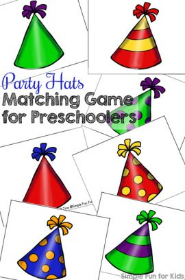 Party Hats Matching Game for Preschoolers