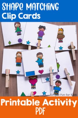 Shape Matching Clip Cards for Toddlers