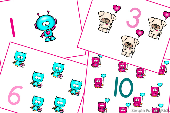 Valentine's Cuties Counting Cards 1-12 - Simple Fun for Kids