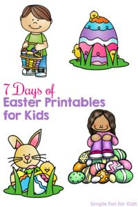 Follow along with my 7 Days of Easter Printables for Kids! There are literacy and math themes, matching, sight words, counting, addition, fine motor practice, and more!