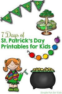 Sign up to keep up with the 7 Days of St. Patrick's Day Printables for Kids series! You'll get fun educational math and literacy printables for toddlers, preschoolers, and kindergarteners on a daily basis.