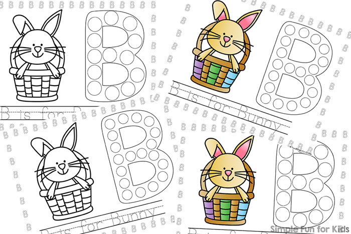 Introduce the letter b to your toddler or preschooler with these cute printable B is for Bunny Dot Marker Coloring Pages! Includes opportunities to dot, trace, read, and write!