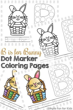 B is for Bunny Dot Marker Coloring Pages