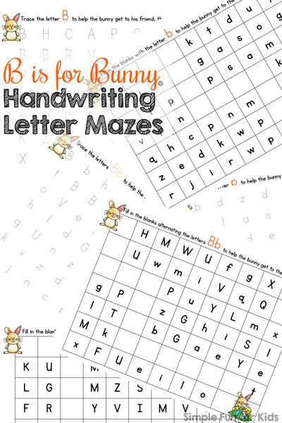Practice handwriting the letter b with these cute B is for Bunny Handwriting Letter Mazes! Perfect for preschoolers and kindergarteners who are just learning to write.