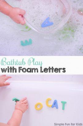 Bathtub Play with Foam Letters