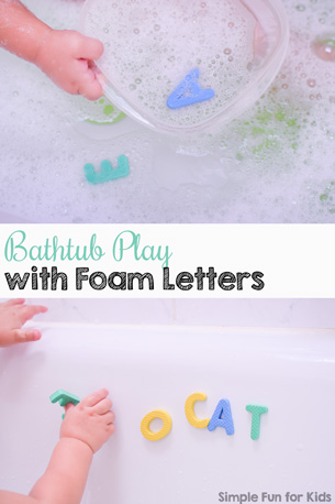 Bathtub Play with Foam Letters