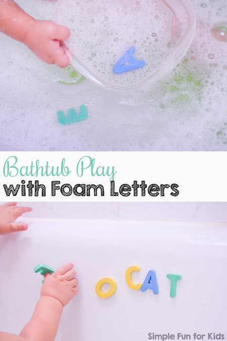 Kids don't want to get into the bathtub? Make it more interesting and sneak in some literacy with this Bathtub Play with Foam Letters activity! My toddler loved it, and it works great for preschoolers, too!